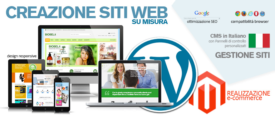 creazione siti websu misura funzionali, compatibili moderni, riadattabili, professionali, eleganti