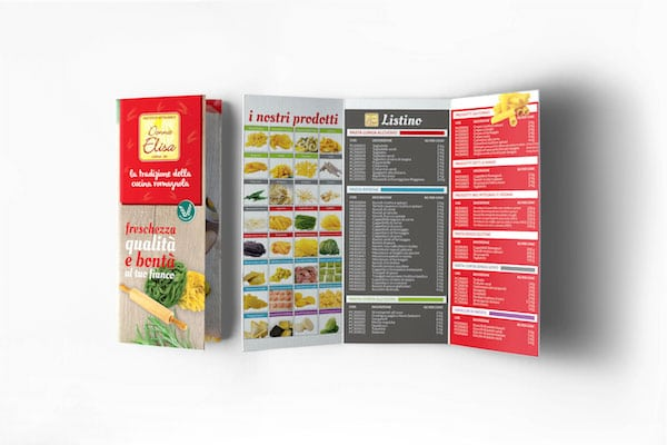 Grafica brochure 3 ante per pastificio