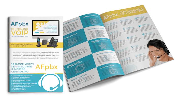 Grafica brochure aziendale per centralino VOIP – A3 a 1 piega