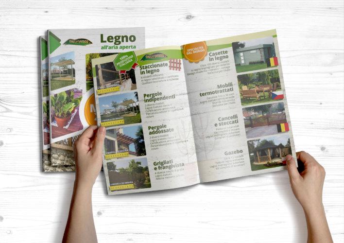 Grafica + stampa catalogo legno – pergole – gazebo – staccionate – casette