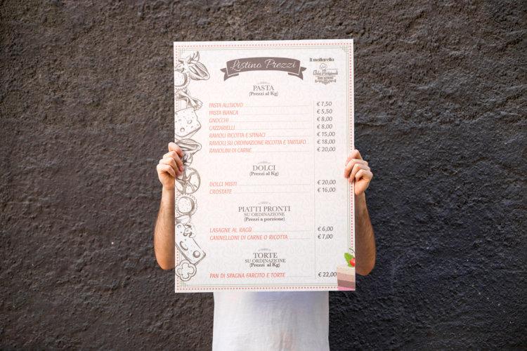 Grafica menù ristorante su pannello in forex 50x70cm