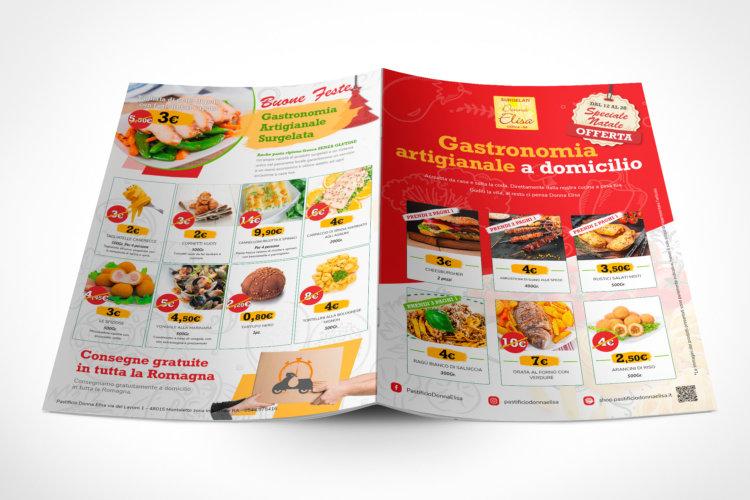 Grafica brochure gastronomia surgelata da asporto